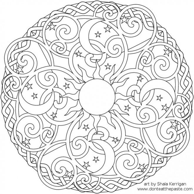 Coloriage et dessins gratuits Relaxant Mandala stylisé à imprimer