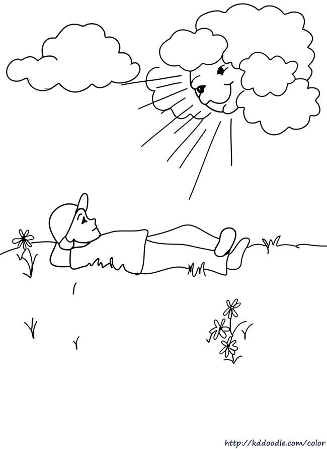 Coloriage et dessins gratuits Relaxation sous Le Soleil à imprimer