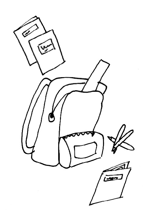 Coloriage et dessins gratuits Cartable et Livres pour La Rentrée à imprimer