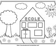 Coloriage École pour La Rentrée maternelle
