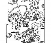 Coloriage et dessins gratuit Élèves pendant la récréation à L'école à imprimer