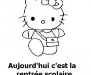 Coloriage Hello Kitty et La Rentrée scolaire