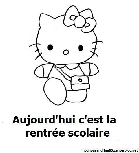 Coloriage et dessins gratuits Hello Kitty et La Rentrée scolaire à imprimer