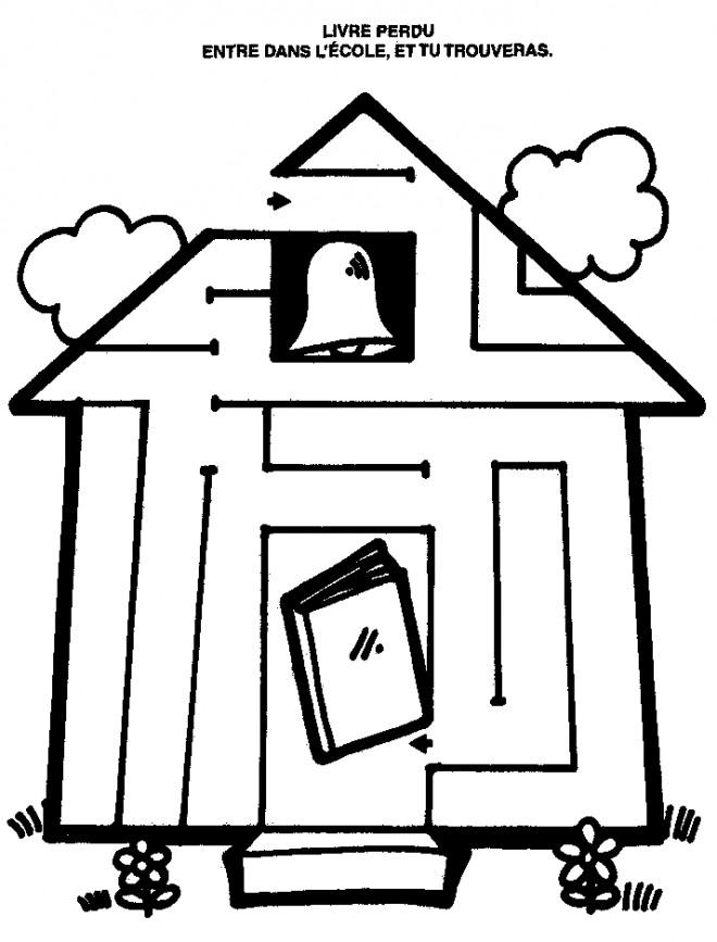 Coloriage et dessins gratuits L'École et Le Livre perdu à imprimer