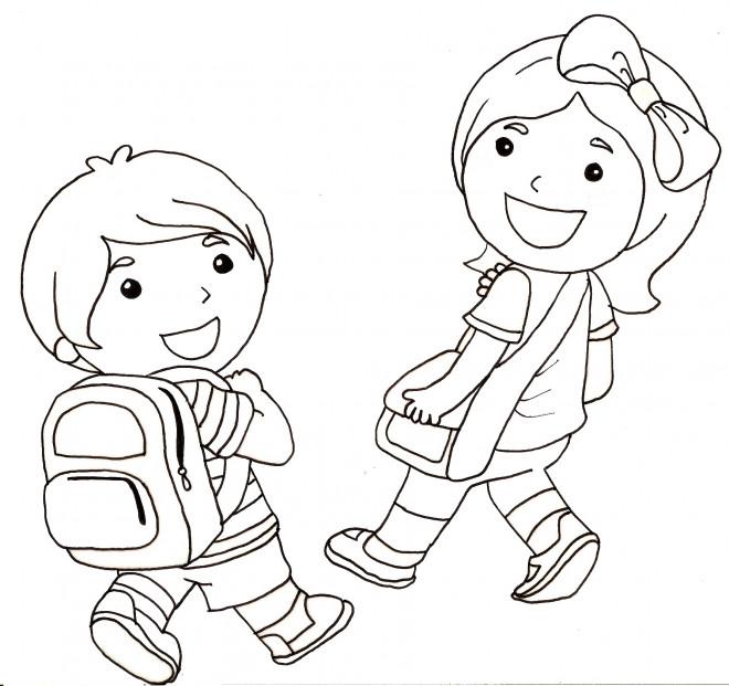 Coloriage Les élèves Et La Rentrée