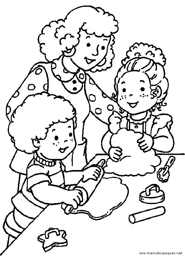 Coloriage et dessins gratuits Maman et ses Filles à La cuisine à imprimer