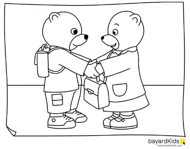 Coloriage et dessins gratuits Ours et La Rentrée scolaire à imprimer