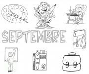 Coloriage Septembre et La Rentrée scolaire