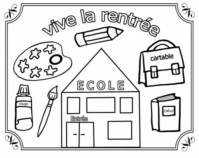 Coloriage et dessins gratuits Vive La Rentrée à imprimer