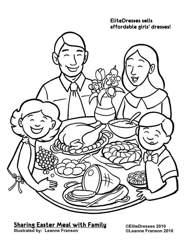 Coloriage et dessins gratuits La Famille réunie autour de repas à imprimer