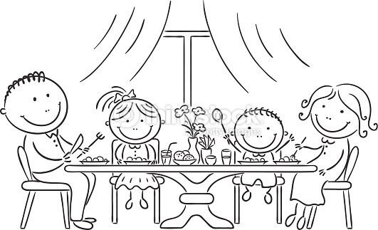 Coloriage et dessins gratuits La Famille sur La Table de Dîner à imprimer