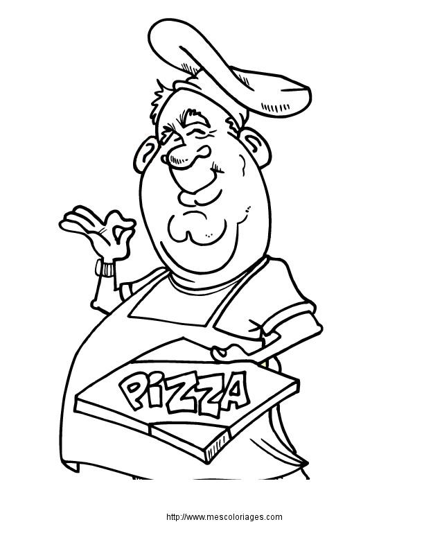 Coloriage et dessins gratuits Le Chef délivre La Pizza à imprimer
