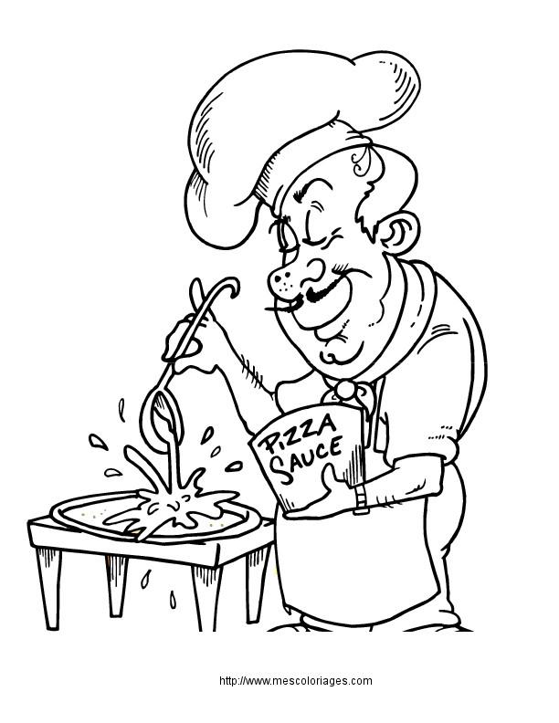 Coloriage et dessins gratuits Le Chef prépare La Pizza à imprimer