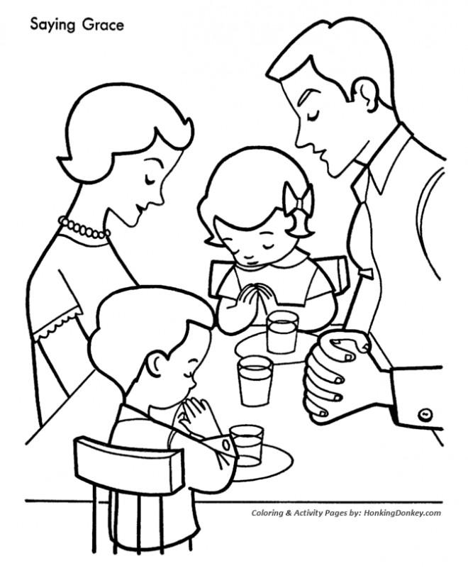 Coloriage et dessins gratuits Prières avant le repas à imprimer