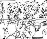 Coloriage et dessins gratuit Repas à l'école à imprimer