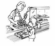 Coloriage et dessins gratuit Repas cantine à l'école à imprimer