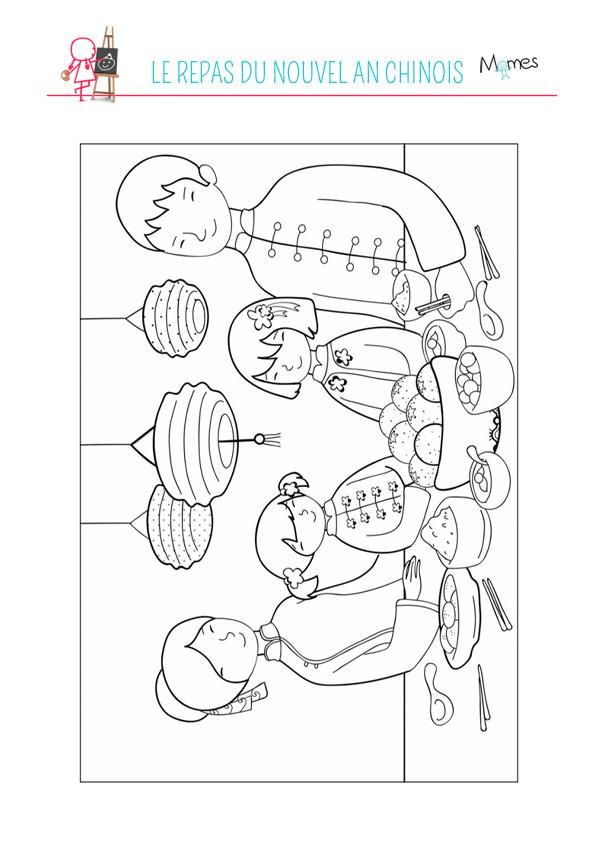 Coloriage et dessins gratuits Repas Du Nouvel An Chinois à imprimer