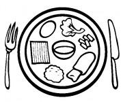 Coloriage et dessins gratuit Repas en vecteur à imprimer