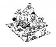 Coloriage et dessins gratuit Repas et Famille Africaine à imprimer