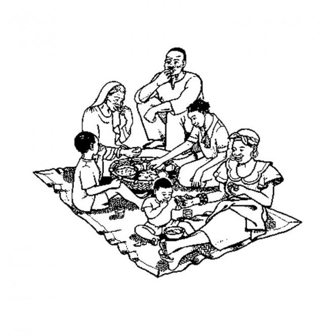 Coloriage Repas Et Famille Africaine Dessin Gratuit A Imprimer