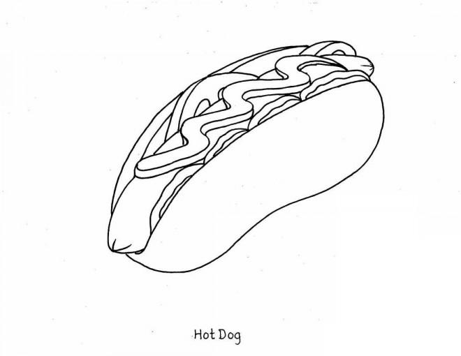 Coloriage et dessins gratuits Repas Hot-Dog à imprimer