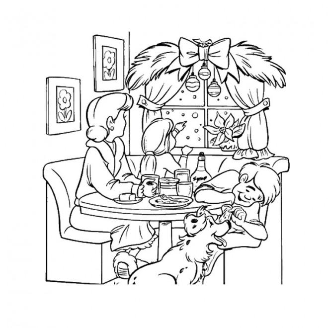 Coloriage et dessins gratuits Repas Noel maternelle à imprimer