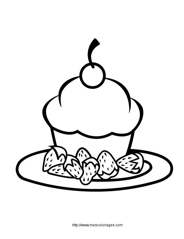 Coloriage Repas Petit Gâteau Dessin Gratuit à Imprimer