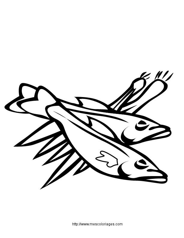Coloriage et dessins gratuits Repas Poissons à imprimer