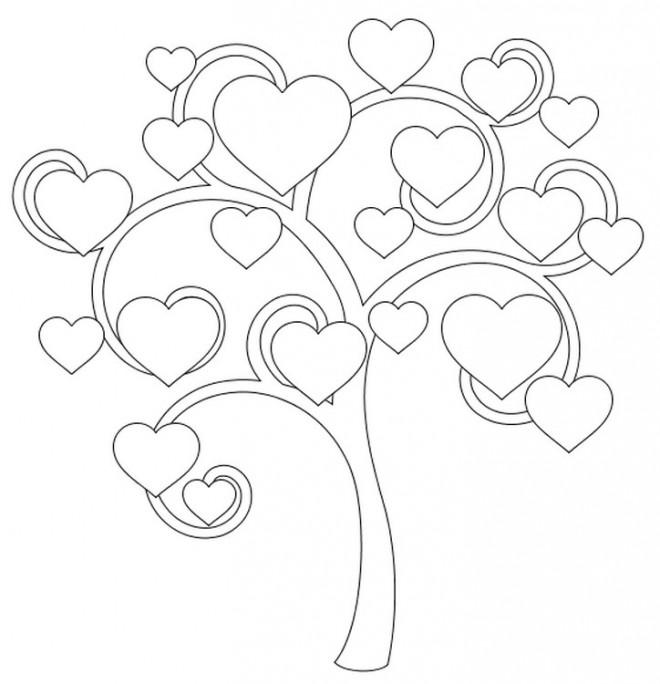 Coloriage et dessins gratuits Arbre des Coeurs à imprimer