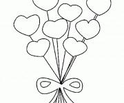 Coloriage et dessins gratuit Bouquet de Coeur à imprimer