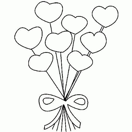 Coloriage bouquet de coeur dessin gratuit imprimer - Modele de coeur a decouper ...