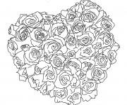 Coloriage Bouquet de Rose couleur