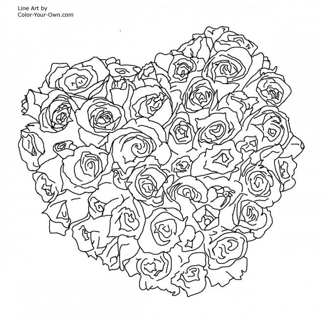 Coloriage Bouquet De Rose Couleur Dessin Gratuit A Imprimer