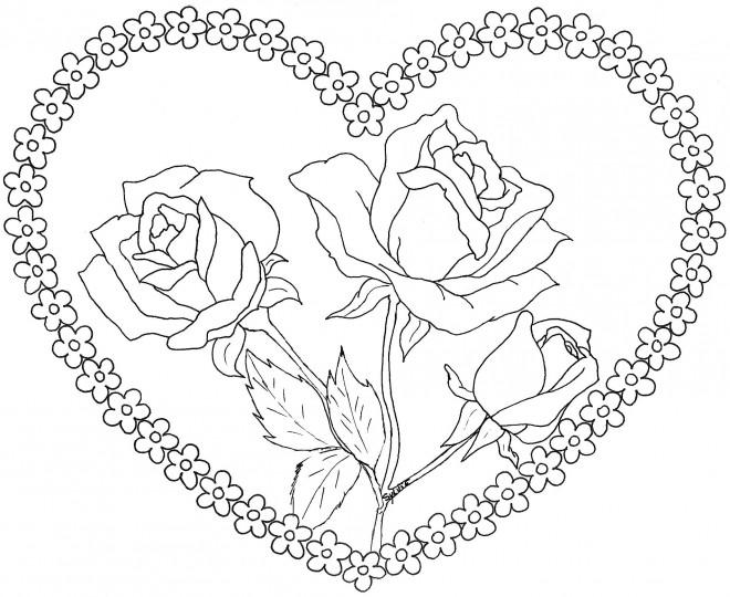 Coloriage Coeur Amour Gratuit.Coloriage Coeur D Amour Et Roses Dessin Gratuit A Imprimer