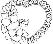 Coloriage Coeur décoré avec des Roses