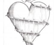 Coloriage Coeur entouré  avec une Rose