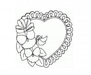 Coloriage Coeur et Rose à colorier