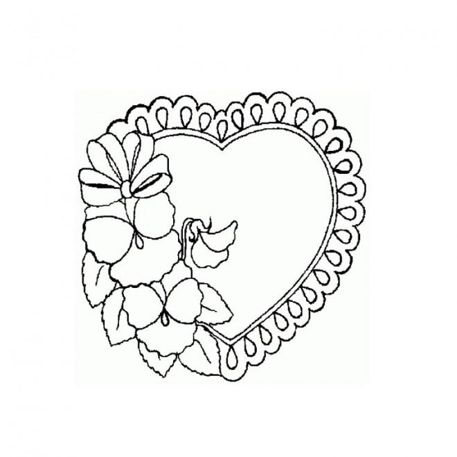 Coloriage et dessins gratuits Coeur et Rose à colorier à imprimer