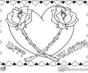 Coloriage Deux Roses et Coeur magique
