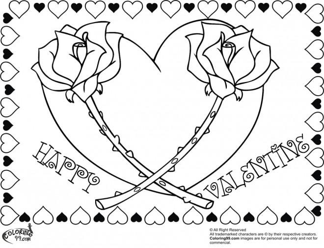 Coloriage et dessins gratuits Deux Roses et Coeur magique à imprimer