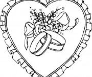 Coloriage Gros  Coeur avec des Rose au centre