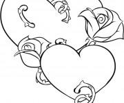 Coloriage Illustration Rose et Coeur