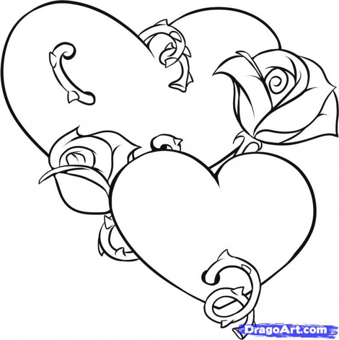 Coloriage et dessins gratuits Illustration Rose et Coeur à imprimer