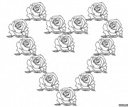 Coloriage Les Roses  Formant un Coeur