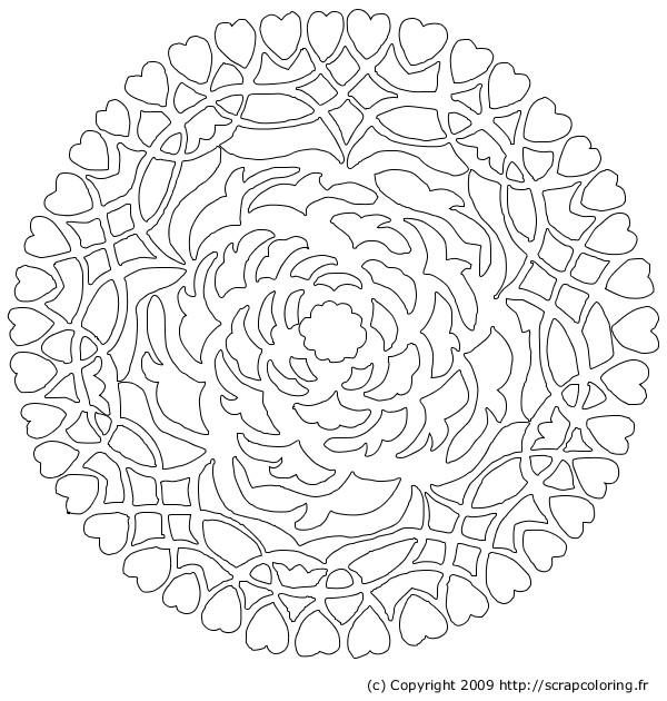 Coloriage et dessins gratuits Mandala Rose et Coeur à imprimer