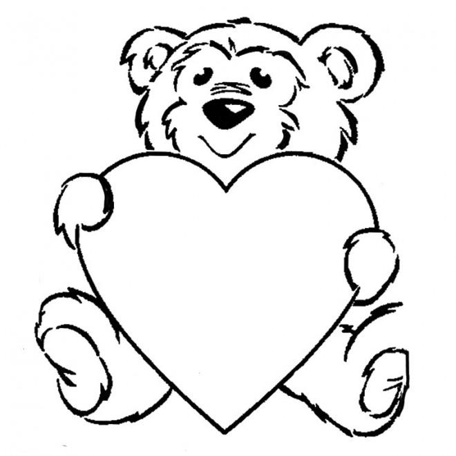 Coloriage et dessins gratuits Ours porte Un Coeur à imprimer
