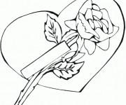 Coloriage et dessins gratuit Rose et Amour à imprimer