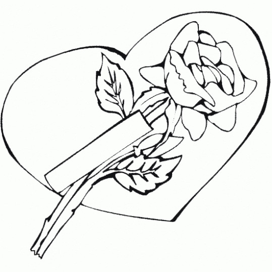 Coloriage et dessins gratuits Rose et Amour à imprimer