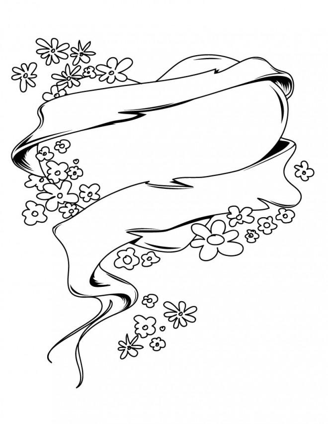 Coloriage et dessins gratuits Rose et Coeur à décorer à imprimer