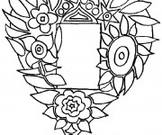 Coloriage Rose et Coeur à découper